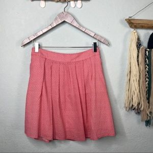 Old Navy Red / White Pleated Flare Mini Skirt XS